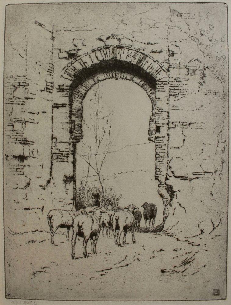 Pasterz ze stadem owiec w ruinach