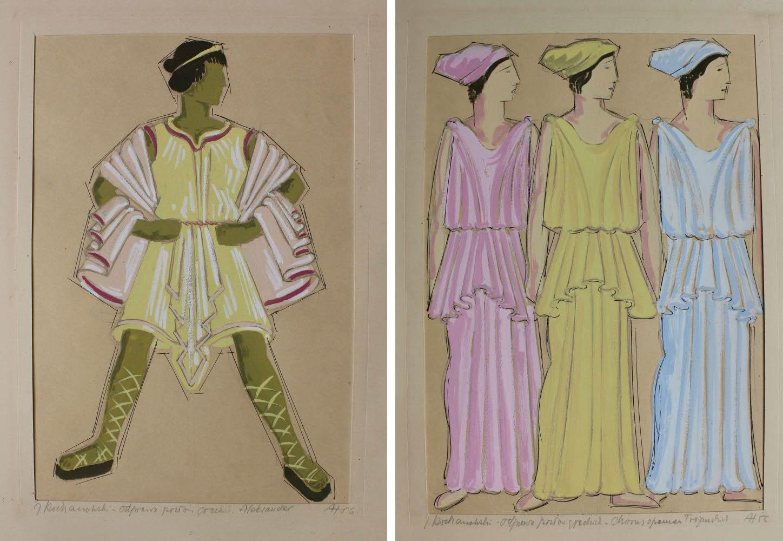 Projekty kostiumów do Odprawy posłów greckich Jana Kochanowskiego: Aleksander, Chorus z panien trojańskich (1956)