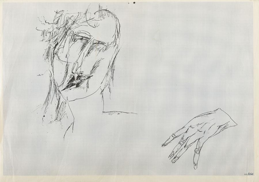 Szkic - głowa i dłoń, 1962 r.