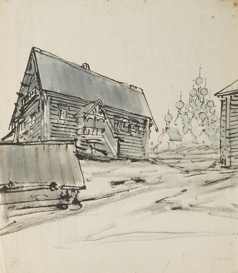 Architektura drewniana z cerkwią w tle, 1914 r.