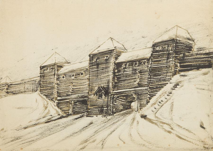 Szkic drewnianej architektury