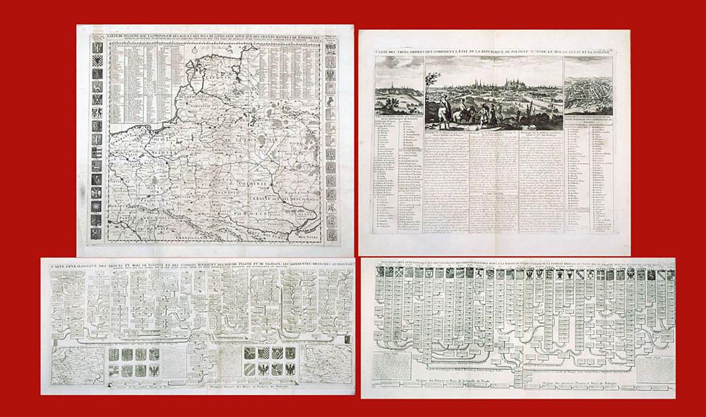 Zestaw plansz genealogicznych Piastów  i Jagiellonów, z mapą Polski