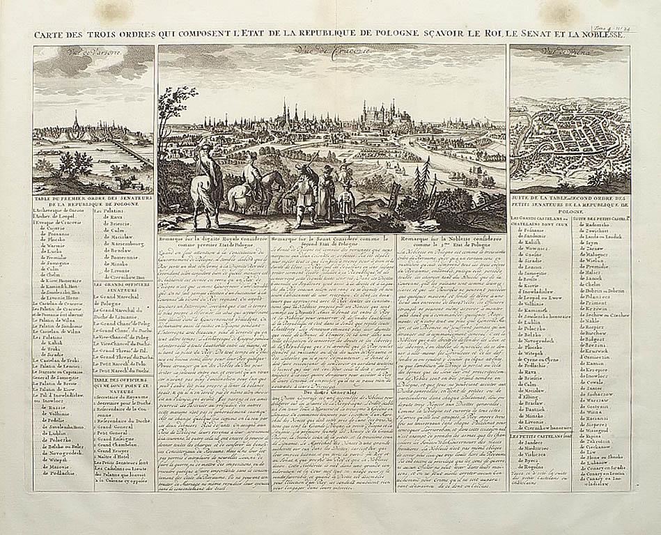 Widok Krakowa, Warszawy i Wilna, 1735
