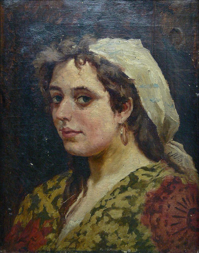 Portret młodej kobiety w chustce