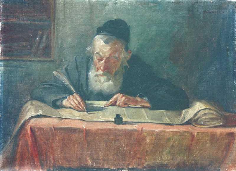 Portret piszącego starego Żyda