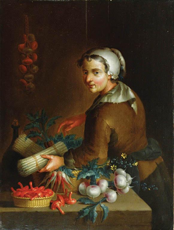 Kobieta z warzywami i grzybami