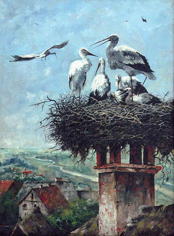 Gniazdo bocianów nad miastem