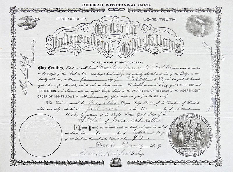 Certyfikat dyplomowy potwierdzający przyjęcie do Loży Daughters of Rebekah w Massachusetts