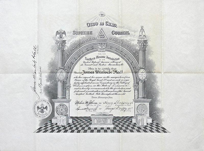 Certyfikat dyplomowy rekomendujący dla Północnej Masońskiej Jurysdykcji Stanów Zjednoczonych