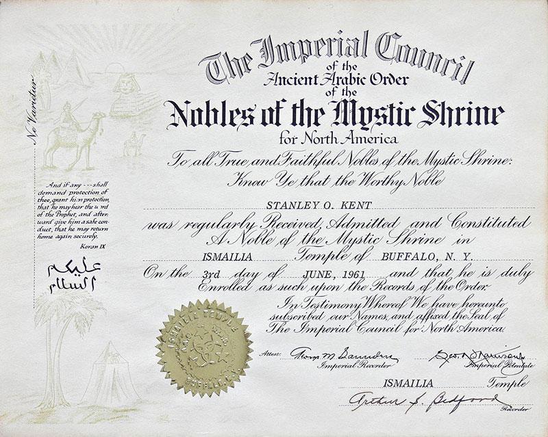 Certyfikat dyplomowy potwierdzający przyjęcie do Loży-Świątyni Ismailia w Buffalo