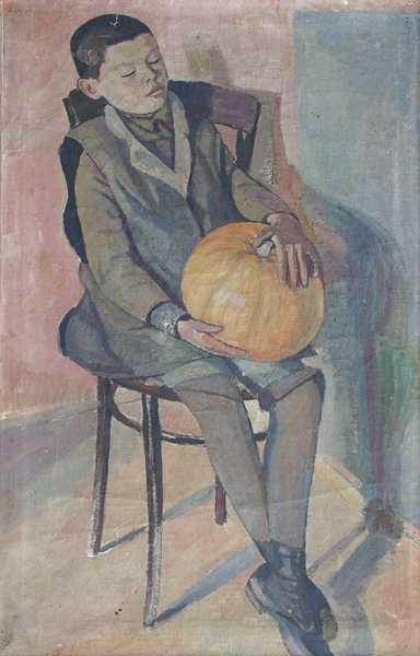 Portret chłopca z dynią