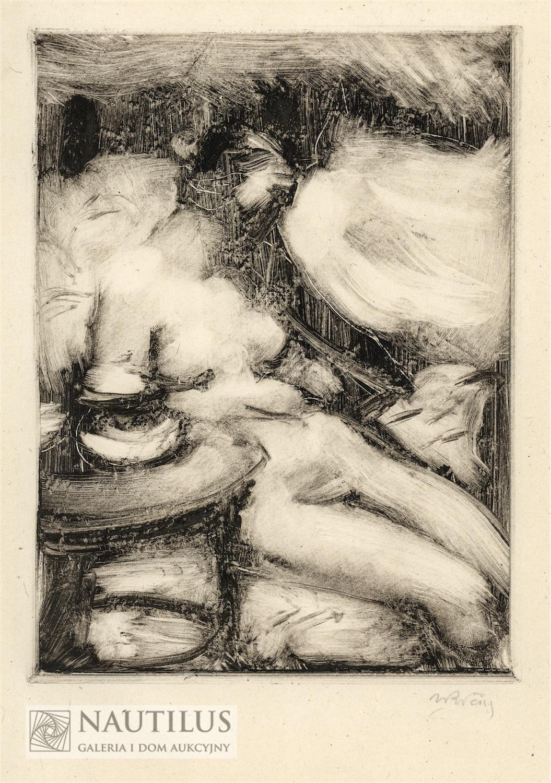 Akt siedzącej przy stoliku, ok. 1930