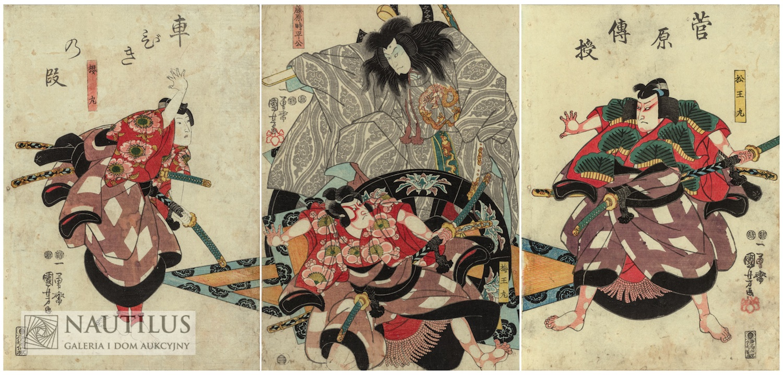 Scena z dramatu kabuki Sugawara Denju Tenarai Kagami, 1850
