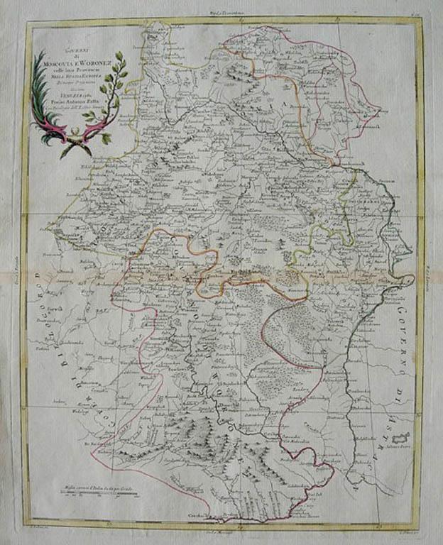 Mapa Guberni Moskiewskiej i Woronezkiej