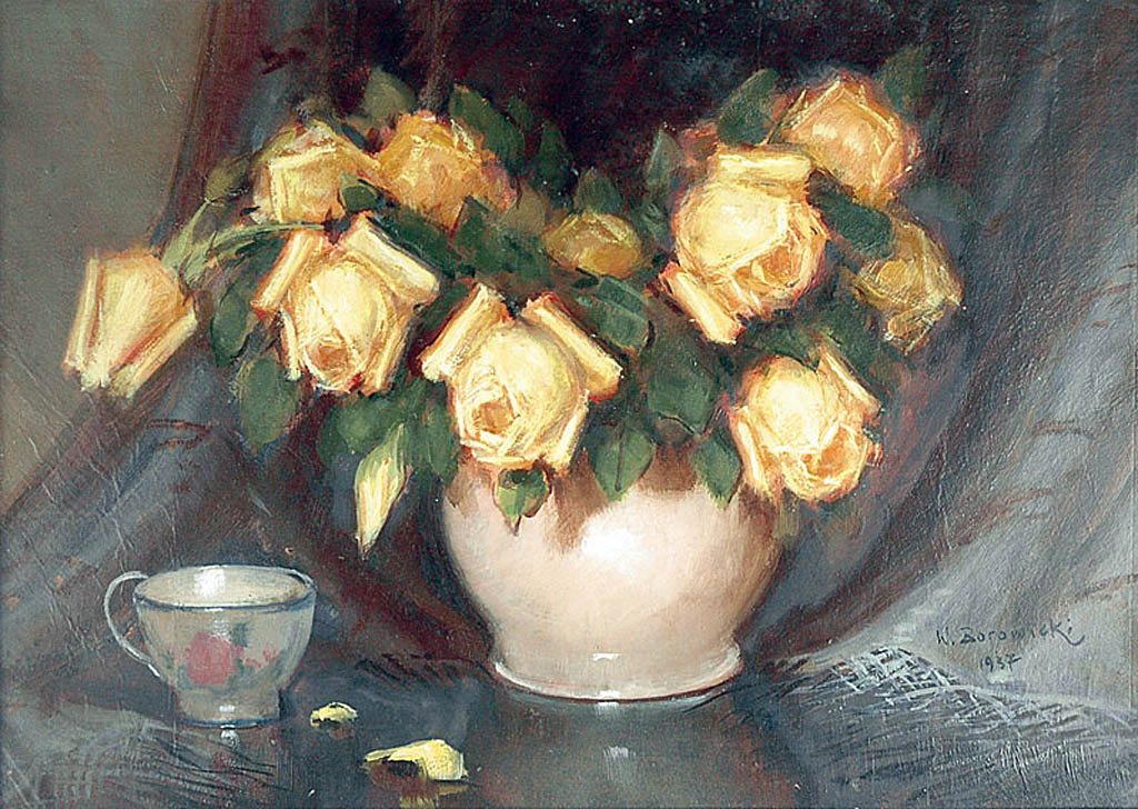 Żółte róże w wazonie