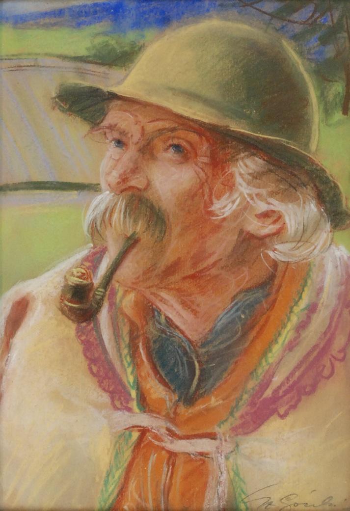 Góral z fajką w zielonym kapeluszu
