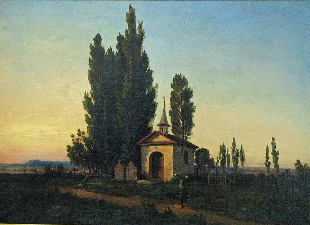Pejzaż z kapliczką, przed 1869