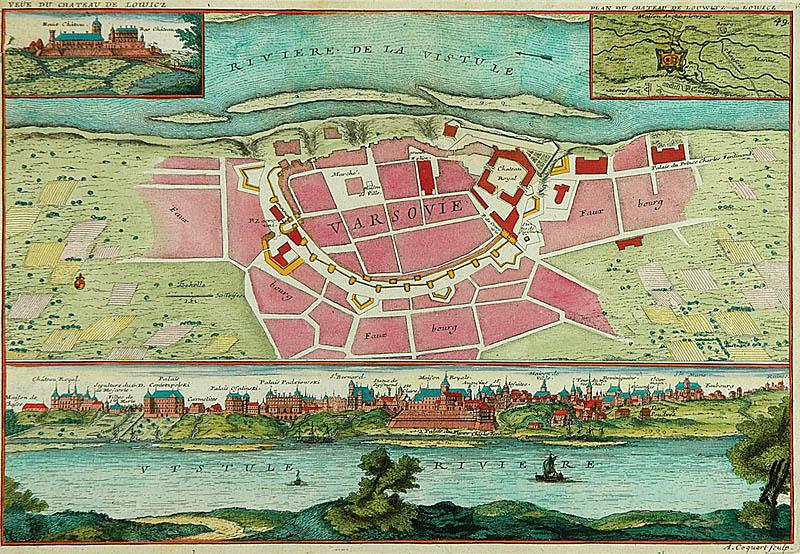 Plan i widok Warszawy z planem i widokiem pałacu w Łowiczu, 1705