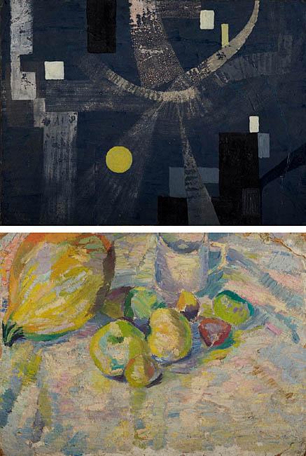 Kompozycja abstrakcyjna / Martwa natura z jabłkami, 1954