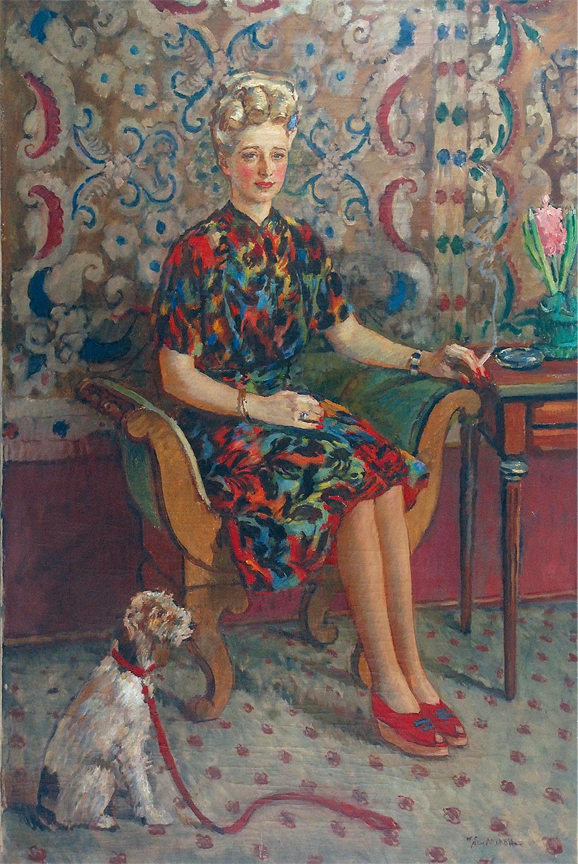 Portret kobiety z pieskiem na czerwonej smyczy