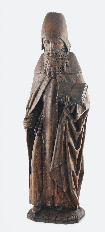 Figura mnicha z księgą; rzeźba przyścienna