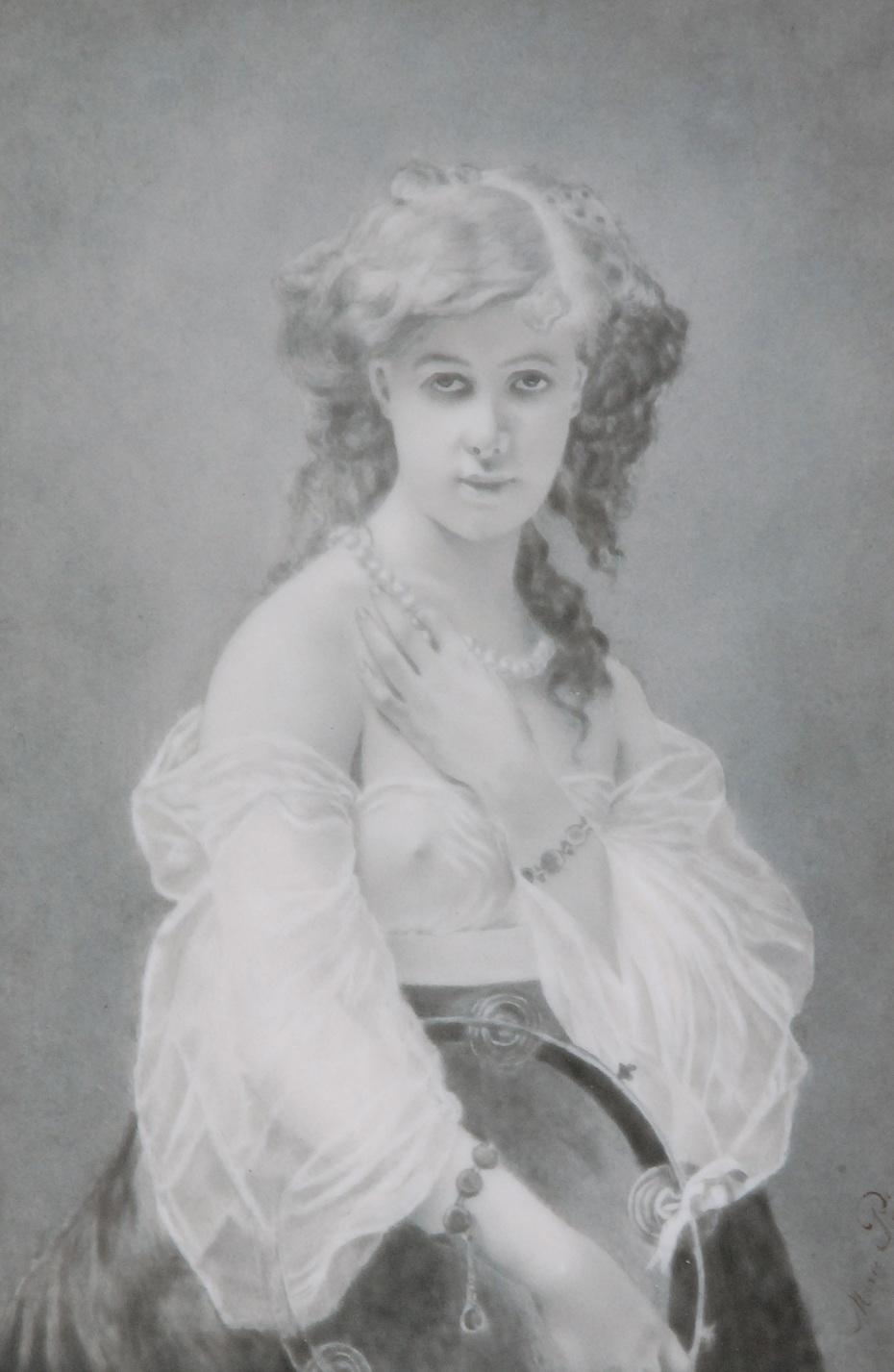 Portret młodej dziewczyny z tamburynem, w ramie drewnianej