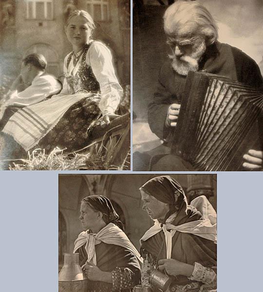 Zestaw trzech portretów: Harmonista, Mleczarka, Kobiety na targu