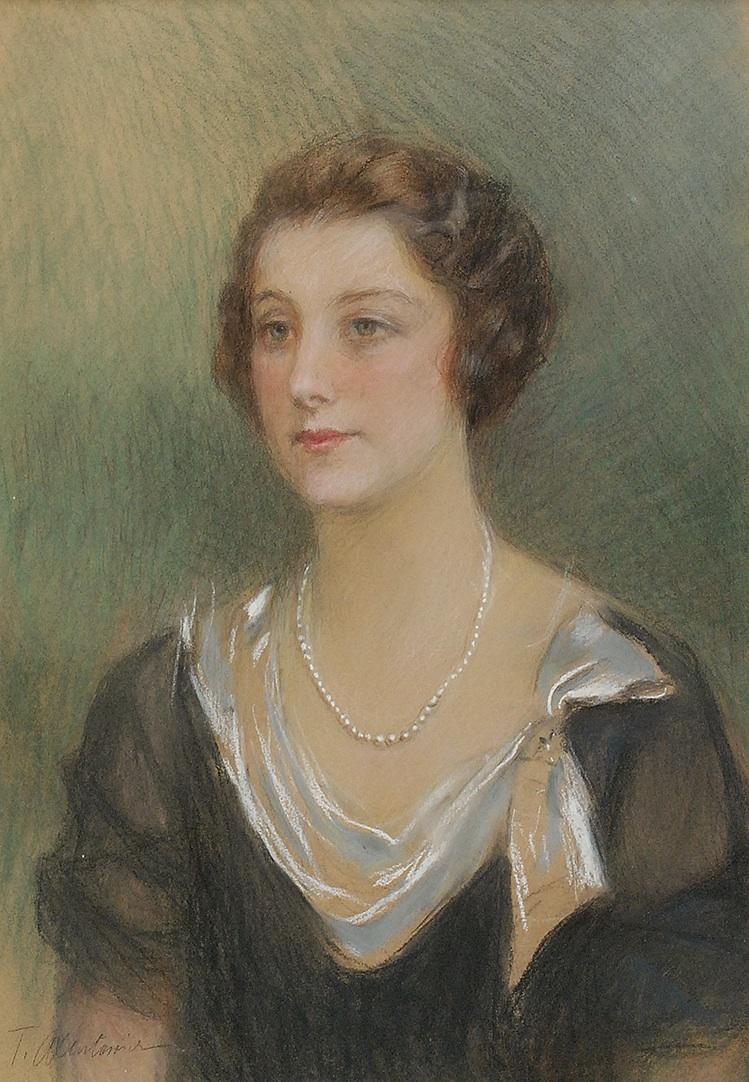 Portret młodej kobiety z perłowym naszyjnikiem