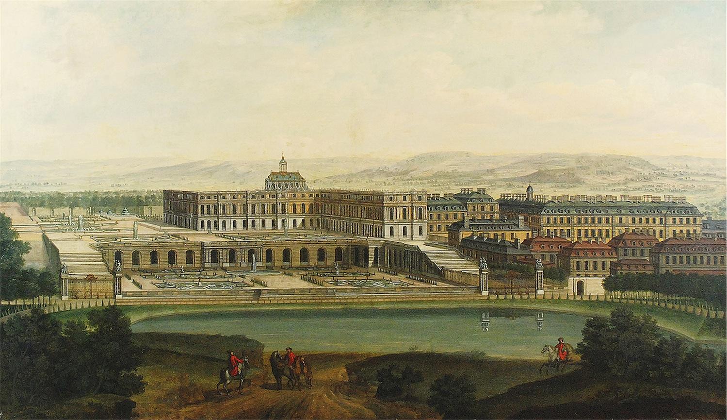 Widok Pałacu Wersalskiego od strony Sadzawki Szwajcarskiej