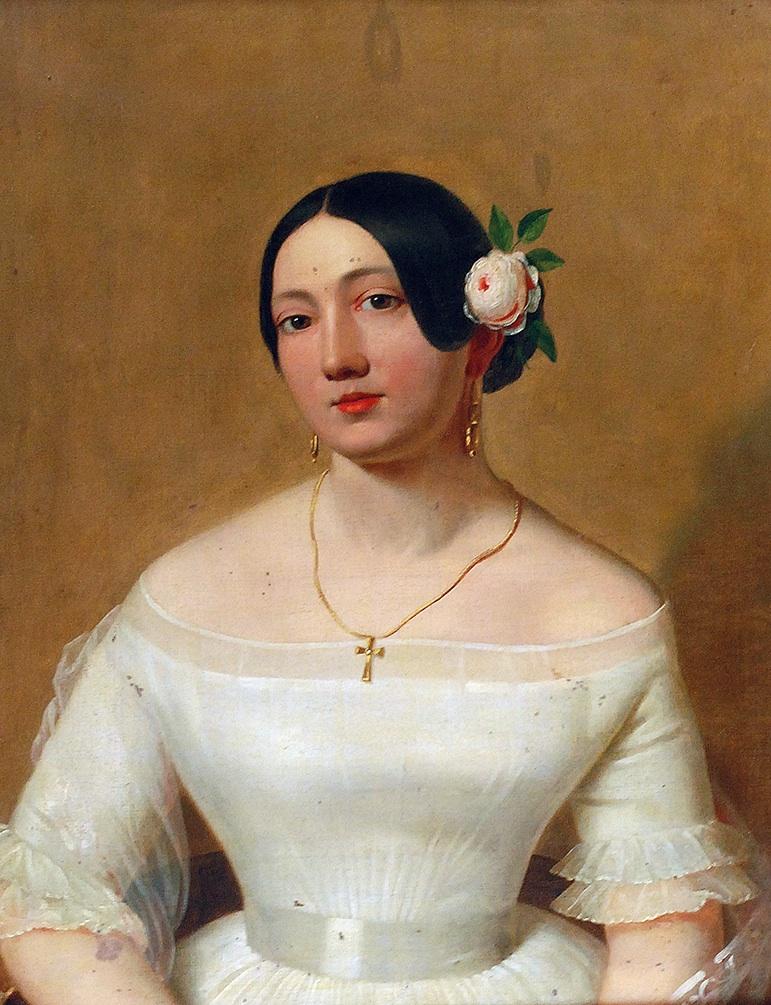 Dziewczyna z różą we włosach, pocz. XIX w.
