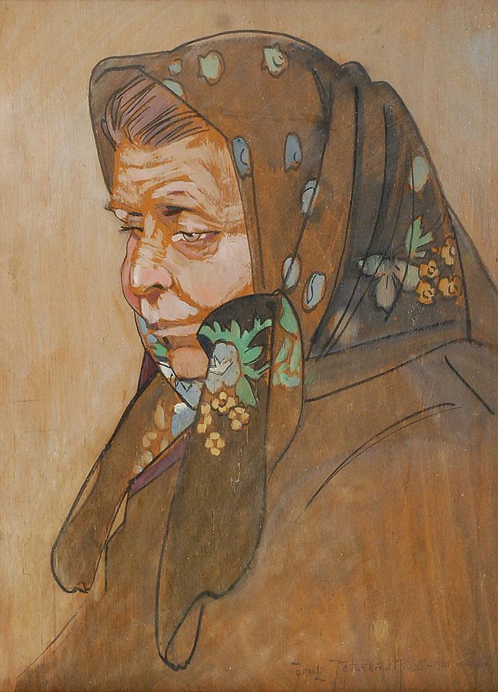 Głowa starej kobiety w haftowanej chuście, ok. 1931