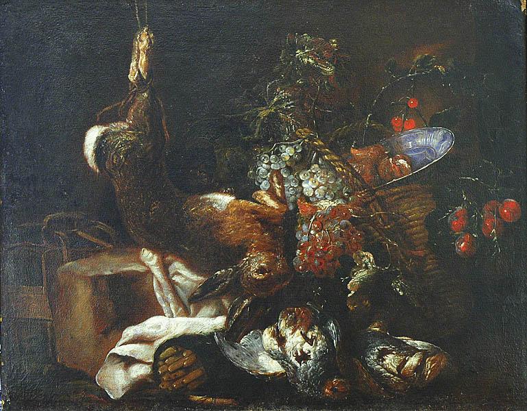 Martwa natura z trofeami myśliwskimi, owocami i kotem