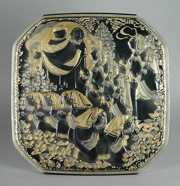 Talerz ze sceną orientalną - z serii Parabole w szkle, 1987