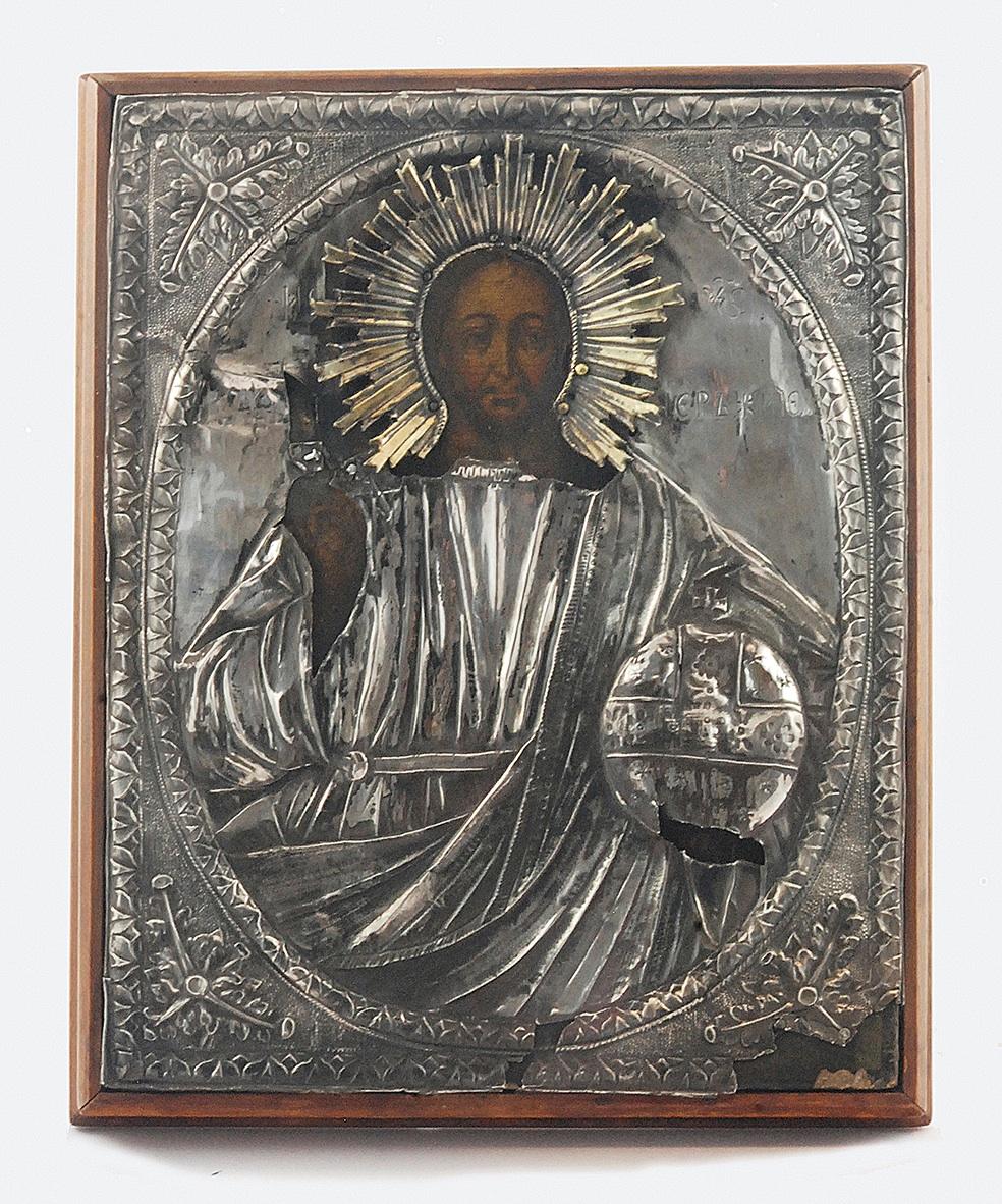 Ikona - Chrystus Pantokrator, w okładzie srebrnym