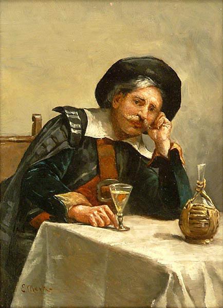 Żołnierz z kieliszkiem wina