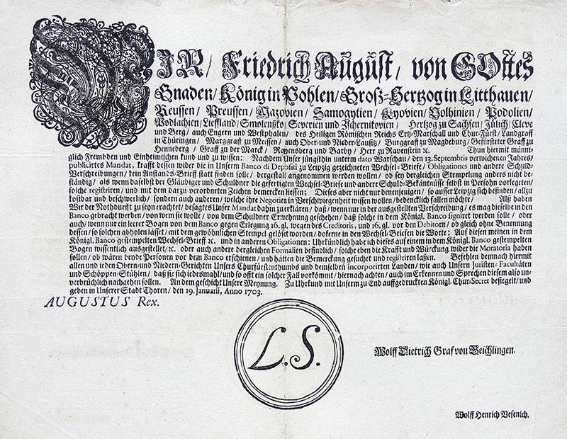 Wir/Friedrich August/von Gottes Gnaden/Koenig in Pohlen...