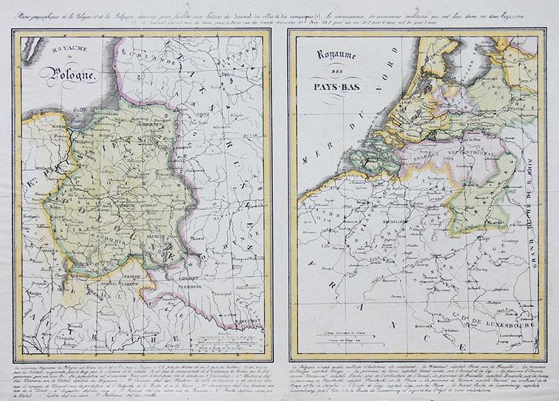 Plans geographiques de la Pologne et de la Belgique...