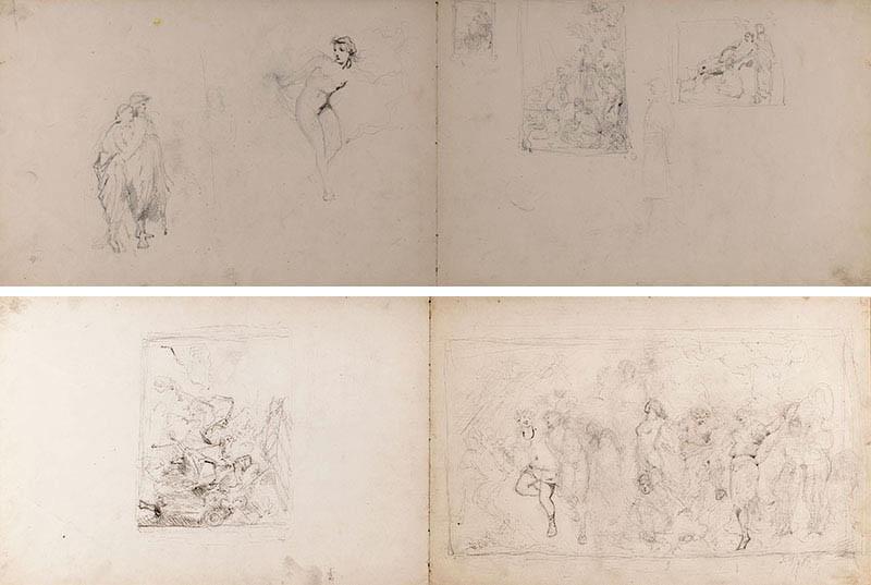 Dwustronna karta ze szkicownika artysty, 1879 r.