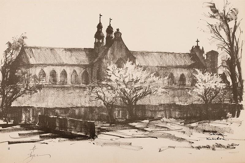 Katedra w Oliwie - strona północna z teki Gdańsk, 1957 r.