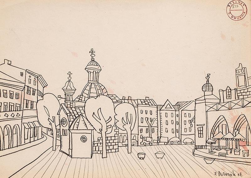 Kościół Św. Wojciecha z cyklu Kraków, 1967 r.