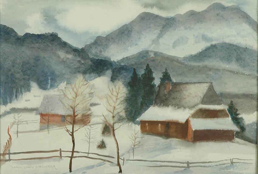 Pejzaż zimowy z górami w tle