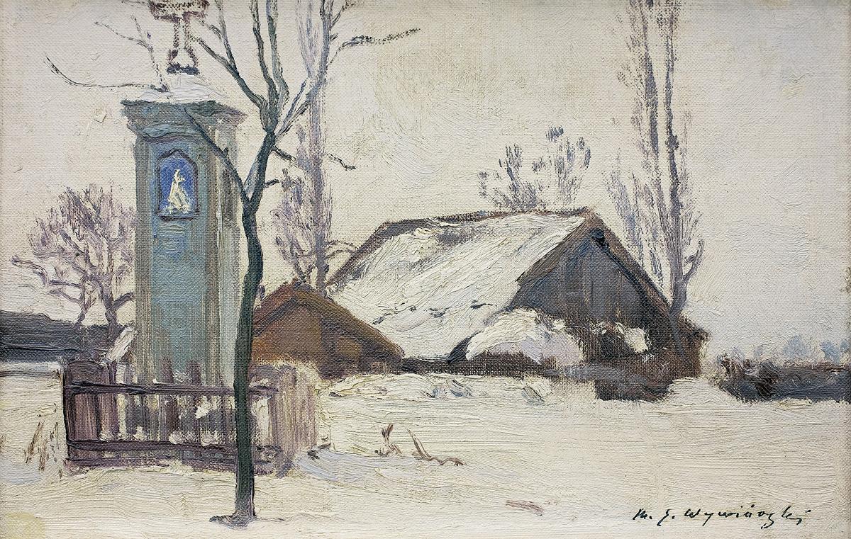 PEJZAŻ ZIMOWY Z KAPLICZKĄ, ok. 1900