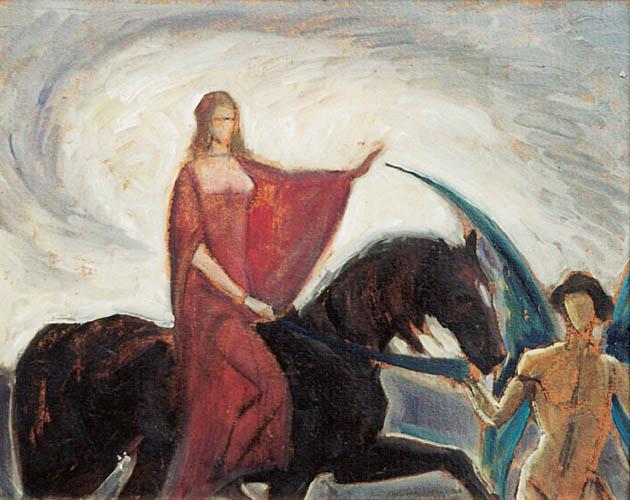 Anioł prowadzący kobietę dosiadającą konia, 1929