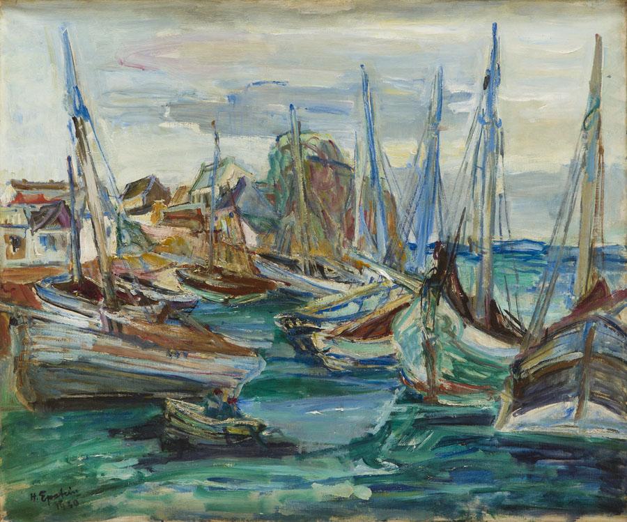 Łodzie w porcie, 1930 r.