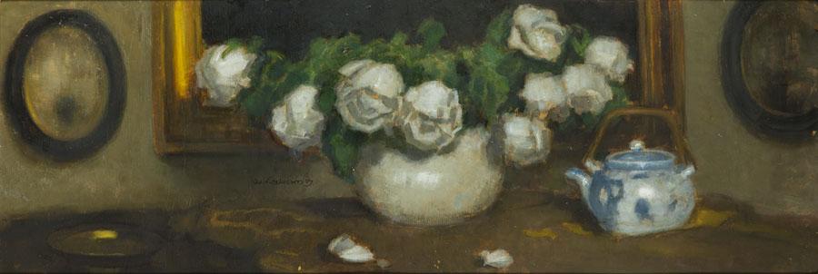 Róże w wazonie i czajnik