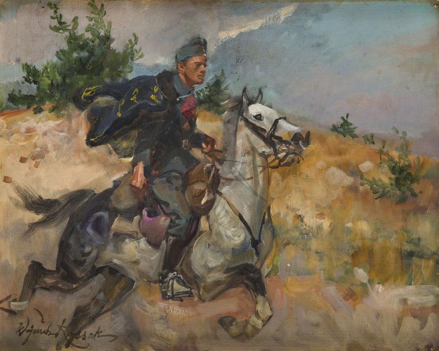Ułan na galopującym koniu
