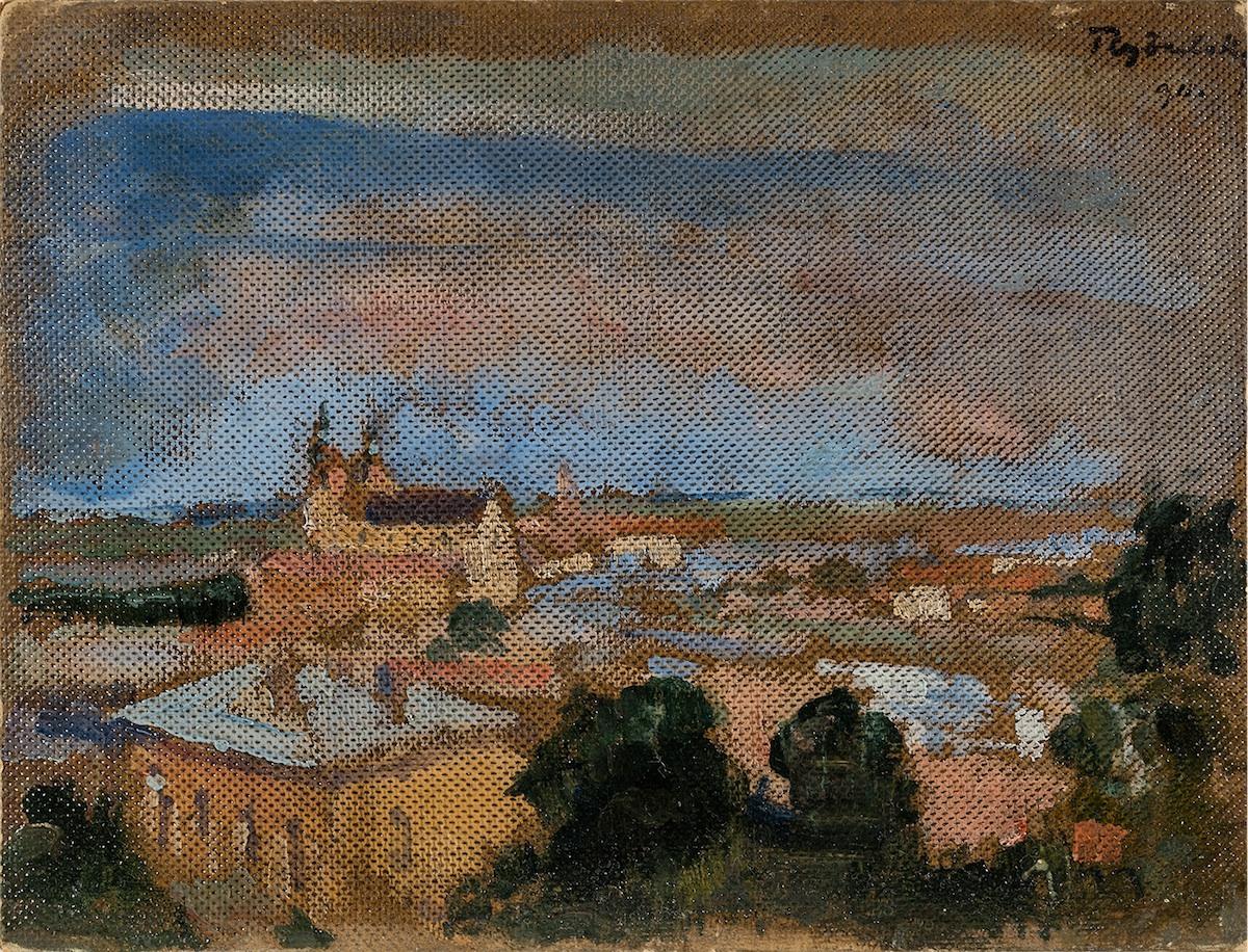 Kraków. Widok z Wawelu na Skałkę i Podgórze, 1911