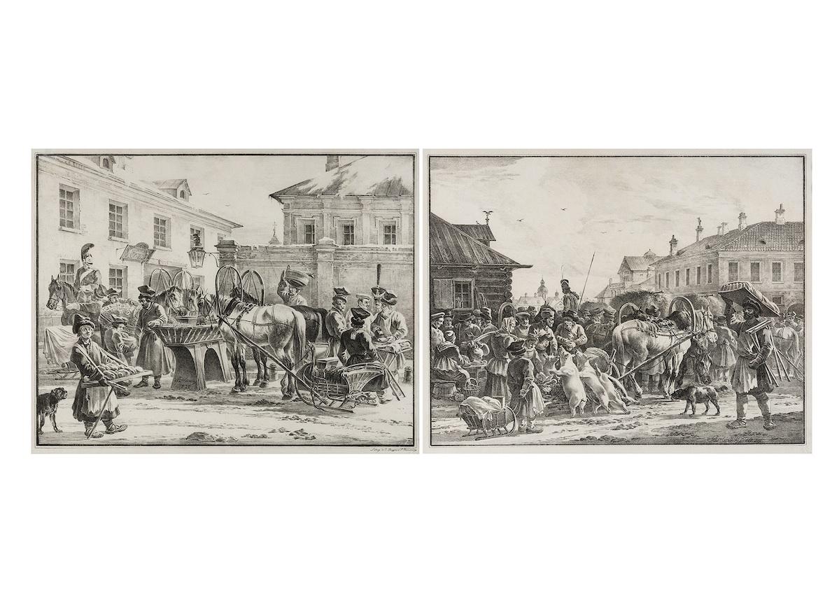 Postój dorożek i Wielki bazar, 1826