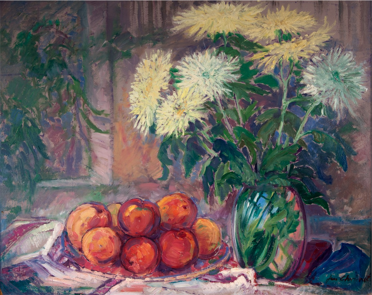 Martwa natura z kwiatami i owocami