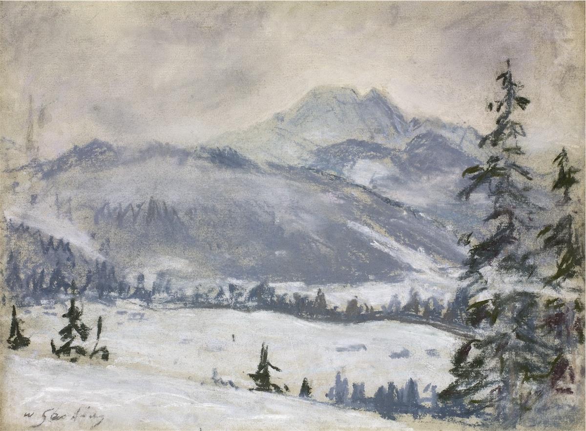 Widok na Giewont z północnego wschodu zimą